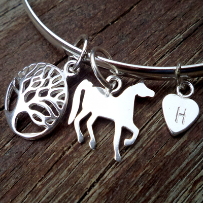 Horse and heart stamped tree of life bracelet