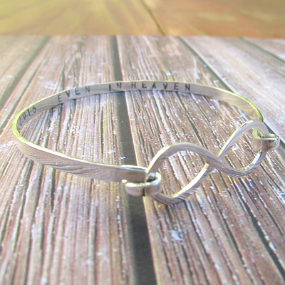 Infinity bracelet with hand stamped detail