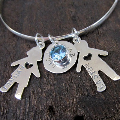 Bracelet with gemstone and hand stamped charms