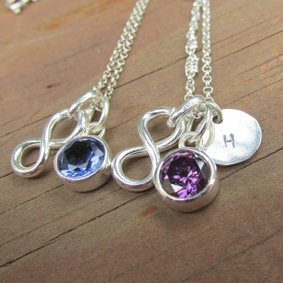 Infinity sign with gemstone and hand stamped disk ~ price per bracelet