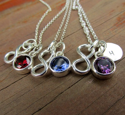 Infinity sign with gemstone and hand stamped disk price per bracelet