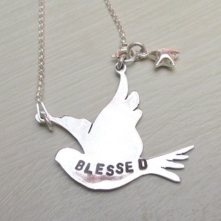 Blessed flying dove with star in silver