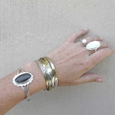 Stacking bracelets with hand stamping